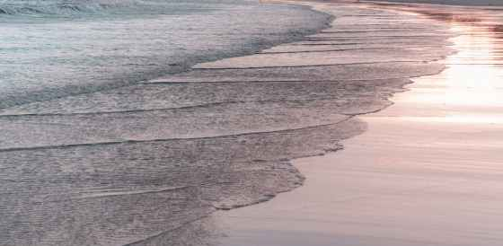 foamy sea washing sandy beach in evening